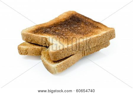 dark burned sandwich bread isolated white background Clipping path included