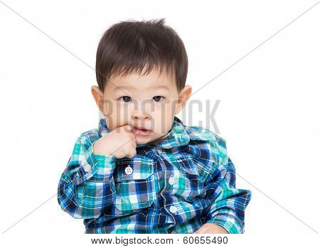 Asia little boy finger suck into mouth