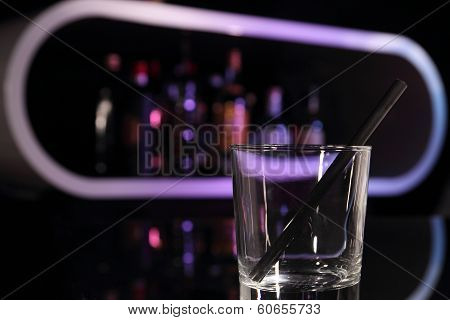 Empty Cocktail Galss On A Bar Symbol For Don't Drink And Dirve