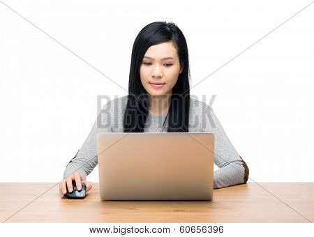 Asia woman using computer