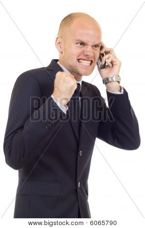 Happy Young Businessman On Cell Phone