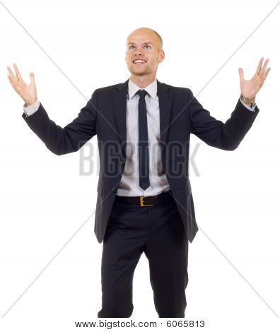 Energetic Businessman With His Arms Raised