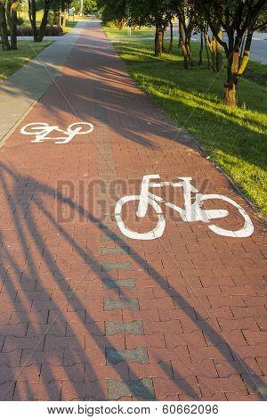 Bike path with a symbol of bike.