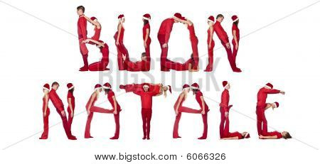 Elfs Forming The Phrase 'buon Natale'
