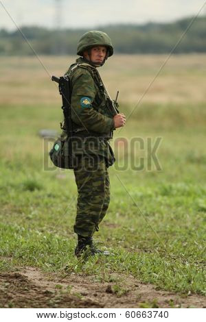 BUDIHINO, RUSSIA - AUG 26, 2010: During Command post exercises with 98-th Guards Airborne Division in Kostroma region.