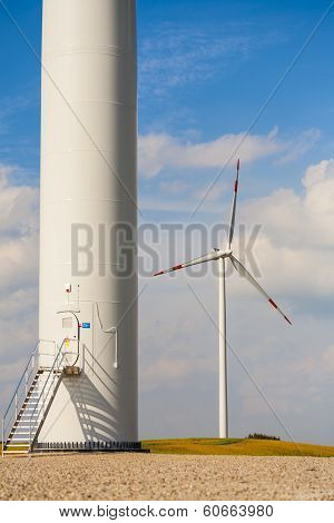 The base of the wind turbine.