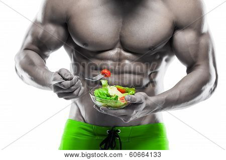 Shaped And Healthy Body Man Holding A Fresh Salad Bowl,shaped Abdominal, Isolated On White Backgroun