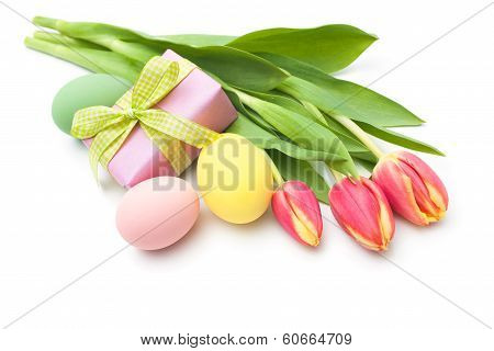 Spring Tulips Flowers With Gift Box