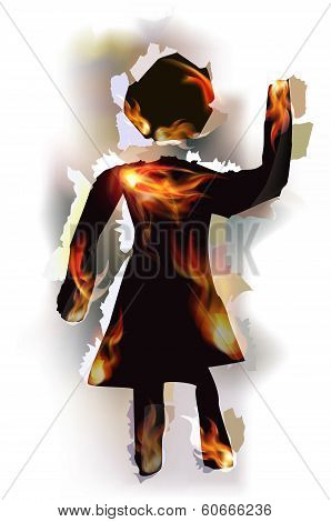 Ripped paper collection and flames, Woman sign