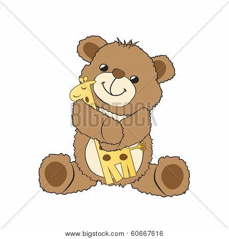 Teddy Bear Playing With His Toy, A Giraffe