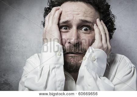 businessman with very afraid, man in white shirt with funny expressions