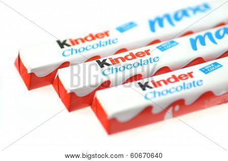 Kinder chocolate bars isolated on white background.