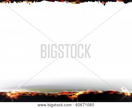 Ripped paper background and fire