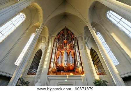 Hallgrimskirkja Cathedral In Reykjavik , Iceland