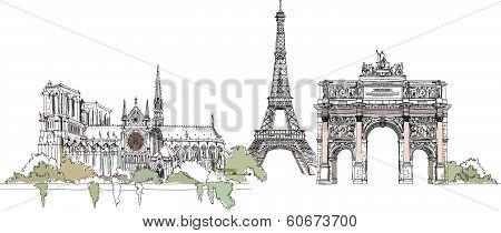 Paris illustration, Sketch collection Eiffel Tower, Triumph Arch and Notre Dame