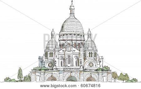 Sacred Heart in Montmartre, Paris Sketch