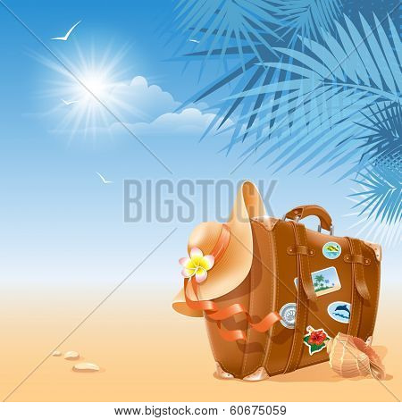 Travel background with retro suitcase and beach hat