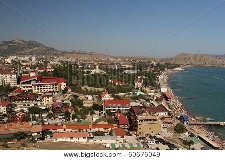 The coastal city from above