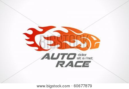Sport Car Speed Race vector logo design template. Fire vehicle in motion. Auto rally in flame icon