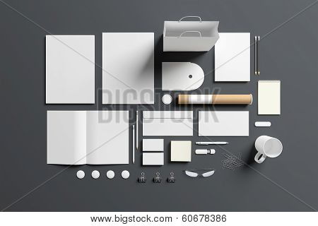 Blank Stationery Set Isolated On Grey