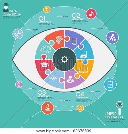 Puzzle in the form of an abstract human eye surrounded infographic education. Education concept with icons and text