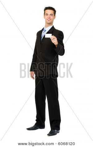 businessman giving a blank businesscard