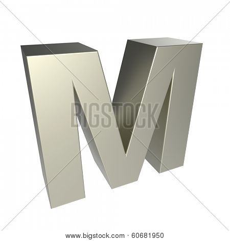 metal letter M isolated on white background