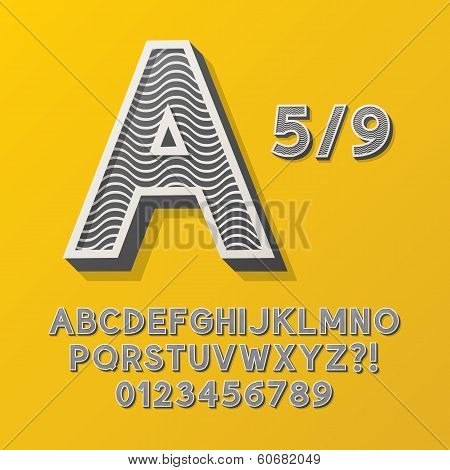Retro Stripe Style 5/9 Alphabet And Numbers, Eps 10 Vector Editable, No Clipping Masks