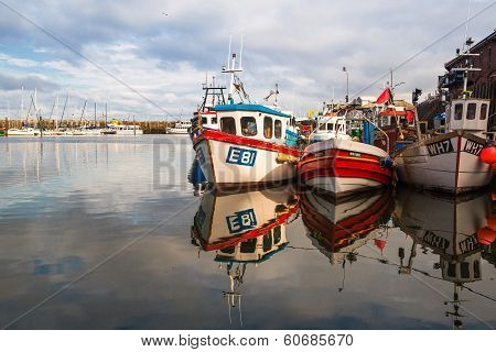Typical Fishing Boats In The Scarborough Harbor