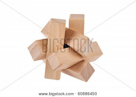 Wooden Brain Teaser On White Background