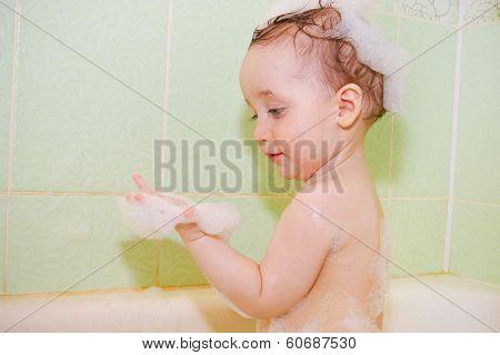 Lovely Boy In Foam In The Bathroom