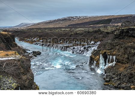 Hraunfossar Waterfall, Northwest Iceland