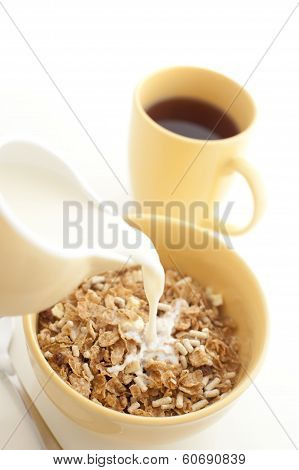 Pouring Milk Into Breakfast Cereal - High Key
