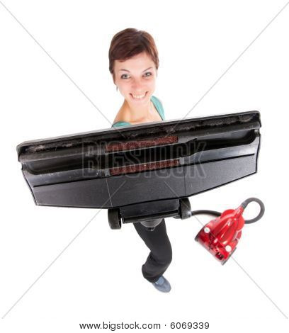 Woman Showing Vacuum Cleaner