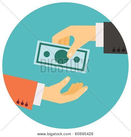 hand giving money illustration