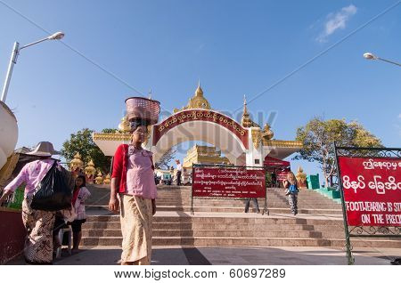 The Golden Rock, Myanmar -february 21, 2014 : Main Entrance Of Kyaiktiyo Pagoda