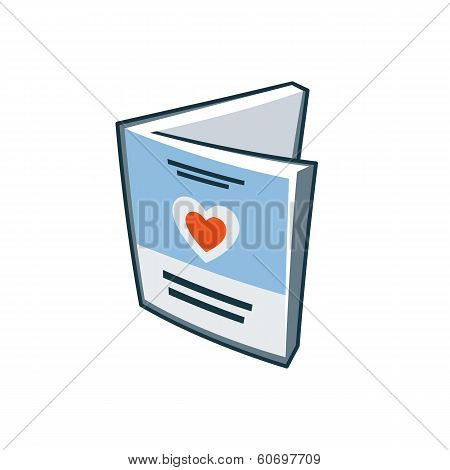 Invitation Love Card Icon In Cartoon Style