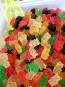 pic of jelly babies sugar  - A scoopful of jelly bears at the market - JPG