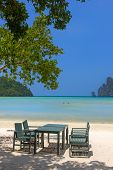 picture of koh phi-phi  - table and chairs on beautiful bay of Koh Phi Phi Thailand - JPG