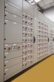 stock photo of plc  - Motors control center electric panel board vertical