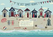 Beach Huts - Summer poster and advertisement for summer holidays, with bunting, lounge chairs, beach