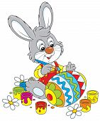 pic of cony  - Little rabbit coloring a big Easter egg to the holiday - JPG