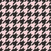 Houndstooth seamless vector pastel pink and black pattern or background. Traditional Scottish plaid.