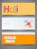 Beautiful header or banner set design with stylish text on yellow and colours splash background.