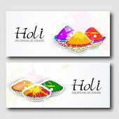 Beautiful header or banner set design with shiny colours powder.