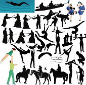 stock photo of pushy  - People play sports collection vector isolated people involved in sports - JPG