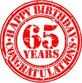 Happy Birthday 65 Years Grunge Rubber Stamp, Vector Illustration