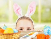 Girl Dressed In Easter Bunny Ears On A Holiday