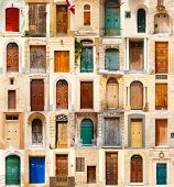 picture of front-entry  - collage of 35 colourful colored front doors to houses from Malta - JPG