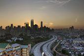 image of kuala lumpur skyline  - Ampang Kuala Lumpur Elevated Highway AKLEH with City Skyline in Malaysia at Sunset - JPG